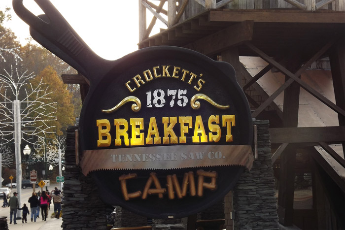 Crockett's Breakfast Camp Sign in Gatlinburg