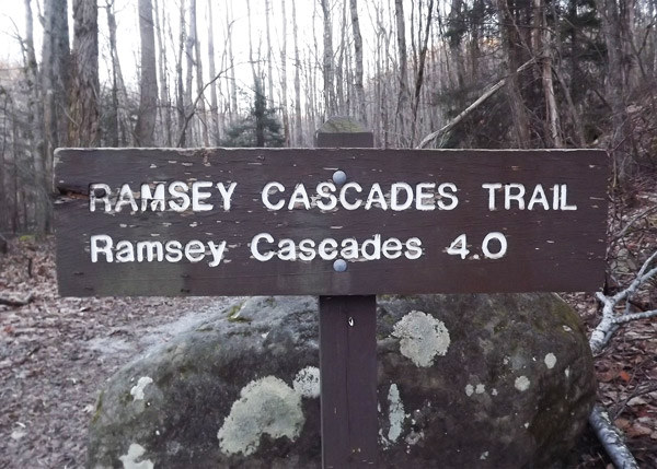 Ramsey Cascade Trailhead Sign