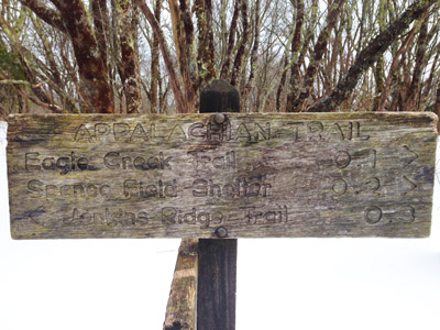 Spence Field Sign on the Appalachian Trail