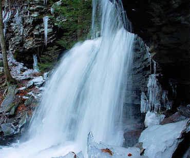 Icy Waterfall Smoky Mountains