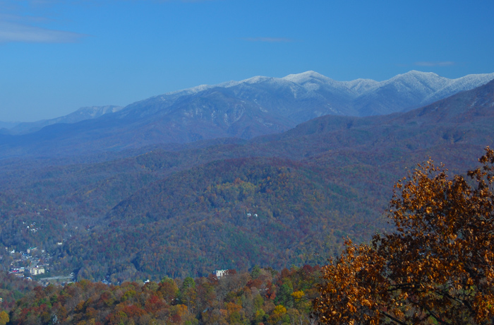 View of Gatlinburg and Mountains in November
