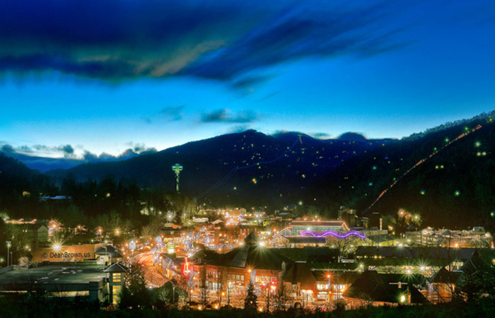 View of Downtown Gatlinburg at Night